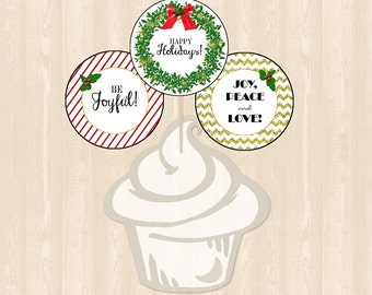 Christmas Holiday Cupcake Toppers/Favor Tags
