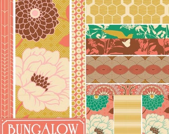 SALE Joel Dewberry Bungalow cotton quilting fabric: fat quarter set of 11, Honey suckle palette