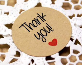 THANK YOU labels with red heart - white or kraft brown stickers - multiple sizes - wedding favors, envelope seals, gift wrapping