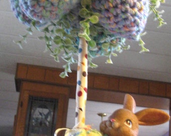 Handmade Crochet Bunny & chicks under EGG TREE   Baby Shower centerpieces or EASTER too!