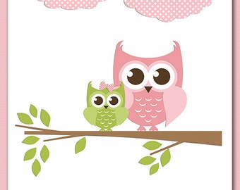 Pink and green brown owl wall art, nursery Art Print - 8x10 - Children wall art, baby girl wall decor, brown, light pink , owl - UNFRAMED