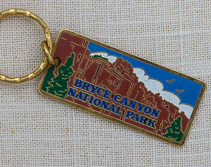 Bryce Canyon National Park Vintage Keychain Utah Key FOB Brass Key Chain 7FF