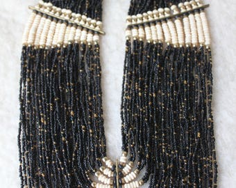 Vintage African Bib Necklace from 1960's, Glass, Bone, Brass Beads, Ethnical, Tribal