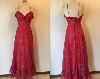 """Vintage 1970s red n lilic formal 