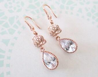 Rose Gold Cubic Zirconia Teardrop Rose Flower Earrings - gifts for her, bridal gifts, dangle, pink gold weddings, bridesmaid earrings