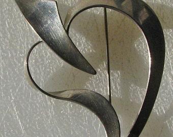 Sterling Silver Vintage Heart Brooch by Beau