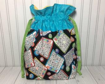 Large Drawstring Knitting Crochet Project Bag - Bingo