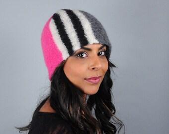 Wool Felt Winter Hat // Merino Wool // Colorblock // Black and White Stripe // Beanie // Tuque // Unisex
