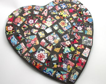 Mosaic Heart Wall Decor - Mosaic Art Home Decor Bright Colors Flowers Mosaic Tile Heart Indoor Mosaic Wall Decor - Unique Housewarming Gift