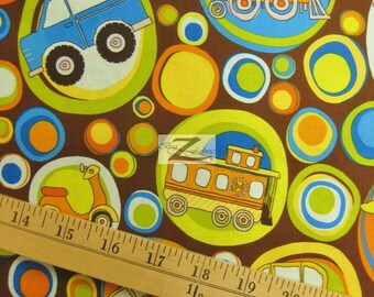 "Transportation On The Go Brown By Riley Blake 100% Cotton Fabric - 45"" Width Sold By The Yard (FH-396)"