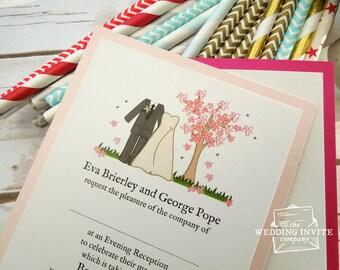 Spring Bride and Groom Postcard Wedding/Evening Invitations