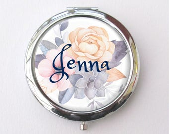 Personalized Bridesmaid Gift, Compact Mirror, Bridal Shower Gift