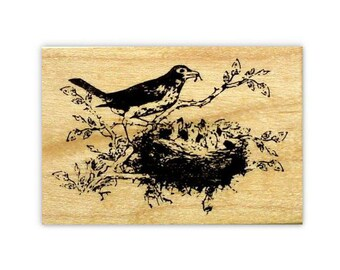 Robin and Babies in Nest, mounted bird rubber stamp, spring, summer, mother bird, Sweet Grass Stamps No.9