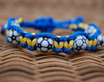 Royal Blue and Yellow Gold Soccer Bracelet  - More cord colors and sports theme options available