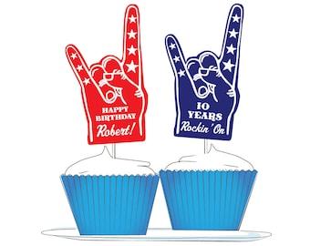 """Custom Rock-n-Roll Cupcake Toppers: """"Foam Finger"""" Rock On"""