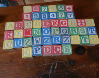 Vintage 1970s Colored Children's Wooden Blocks Numbers/Letters Wood Not Full Set Repurpose/Recycle/Reuse (47) Not Full Set Alphabet