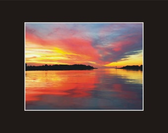 Sunset Ocracoke Ditch Windmill Point Photographic Print matted in black North Carolina