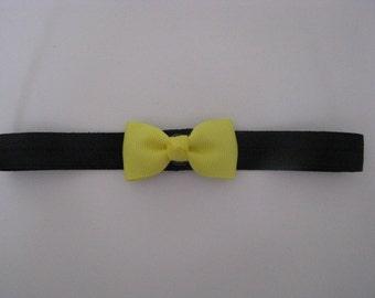 baby headband black elastic with yellow daffodil bow