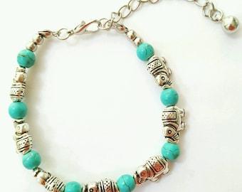 Elephant bracelet, boho elephant bracelet, indian bracelet, turquoise bracelet, elephant jewelry, turquoise jewelry