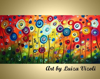 Large Flowers Painting 72x36 Poppy Floral Huge Canvas Large Artwork by Luiza Vizoli