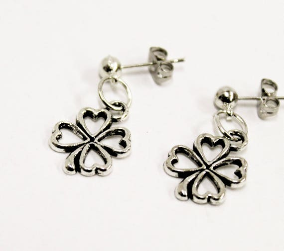 Four Leaf Clover Earrings, Good Luck Jewelry, Four Leaf Clover Jewelry, Four Leaf Clover Gift, Good Luck Earrings, Good Luck Gift For Her