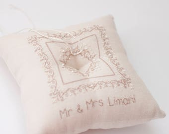 Personalized Ring Bearer Pillow, Custom Wedding Ring Pillow, wedding ring pillow, ring bearer, ivory ring pillow, rustic wedding,