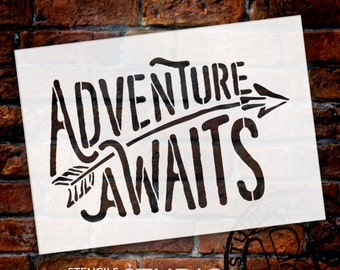 """Adventure Awaits Stencil  by StudioR12 - word art - rustic sign with arrow- paint  """"for Kids room art""""  """"word art""""  Select Size - STCL1751"""