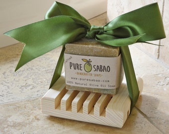 Natural Green Olive Oil Soap + Tray