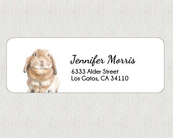 Rabbit Return Address Labels - Stickers - Personalized - Cute Baby Bunny Animal - Shipping