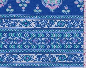 Blue/Ivory/Mint Stripe Jersey Knit, Fabric By The Yard