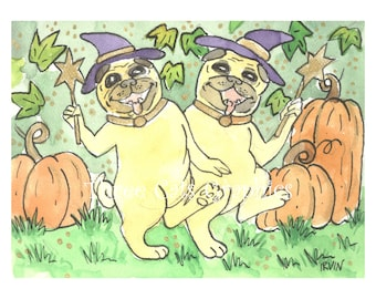 A Bewitching Pair of Pugs - Choose from ACEO Print, Note Card with Stickers, or Art Print