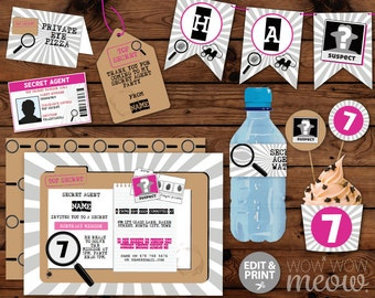Secret Agent Birthday Package Girl's Pink Spy Invitations Decorations Full Printable Collection INSTANT DOWNLOAD Editable Text Personalize