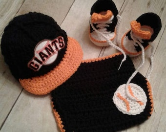 SF Giants inspired crochet baseball hat and shoes