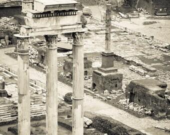 Rome Italy - Roman Forum - Architecture - Black and White - Sepia - Fine Art Photograph - Temple of Castor and Pollux