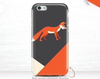 Fox iPhone 7 Plus Case iPhone 6s Case Abstract Triangle iPhone 6 Plus Case iPhone 5s Case Galaxy S7 Case Geometric iPhone 6 Case Orange  17v