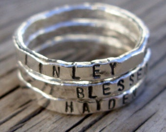 Personalized ring ONE womens silver stackable stacking ring, hand stamped fine silver, hand made custom moms jewelry gift one little word