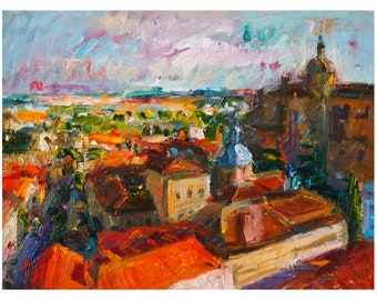 Salamanca in Autumn View From the University's Tower Medieval Town Cityscape Original Oil Painting City Spain Paintings Town European Europe