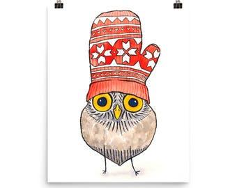 Owl Wearing Mitten / Art Print of Watercolor Painting - Cute Animals