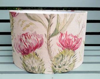 Voyage Maison THISTLE GLEN summer pink fabric covered linen floral country drum table pendant lampshade 20cm 25cm 30cm 35cm 40cm