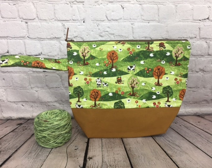 Sheep cows on the farm w/ Full length pocket, Knitting project bag, Crochet project bag,  Zipper Project Bag, Yarn bowl