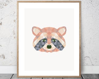 Baby Raccoon / Kit / Low Poly / Graphic / Download / Printable / Prints