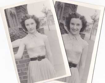 Pretty Curly Haired Lady - Two Vintage 1940s Photographs