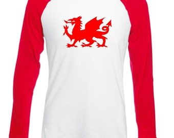 Welsh Dragon Wales Long Sleeved Mens/Adults Baseball Style Novelty Tshirt - Novelty Football/Rugby/Fan/Country/Cymru Shirt Wales