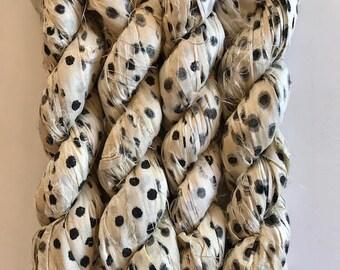 100 Gram Silk Sari Ribbon-Polka Dot Sari silk Skein-50-60 Yards