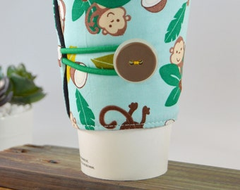 Monkey Business Coffee Tea Cozy for Tapered Cups, Novelty Travel To Go Present, Adjustable Fabric Java Jacket Sleeve, Drink Carrier Holder