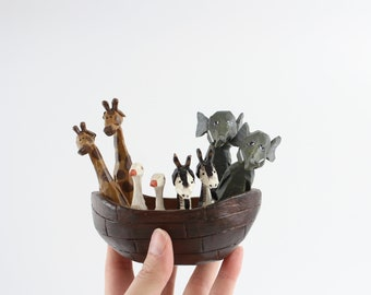 Vintage Folk Art Wooden Noah's Ark Sculpture - V/S Rawson House of Hatten Religious Home Decor