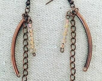 MOM - Beaded Morse Code Dangle Earrings