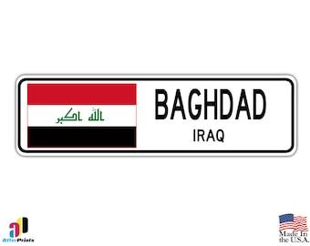 Baghdad, Iraq Street Sign Iraqi Flag City Country Road Wall Gift