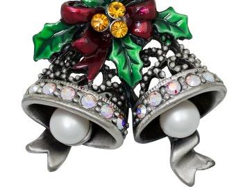Antique Silver-tone Swarovski Element Crystals Christmas Bells Pin Brooch