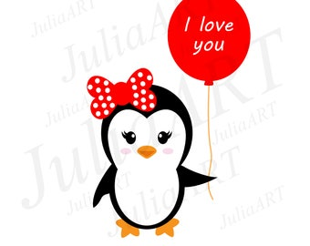 cartoon cute penguin girl with balloons and bow vector image
